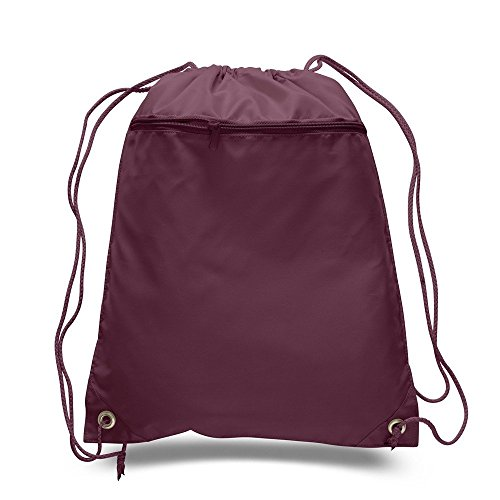 PACK OF 2 - Well Made 210D Durable Polyester Gym Drawstring Bags, Gym Backpacks with Front Zipper Pocket by BagzDepot (2 PACK) (MAROON) ()