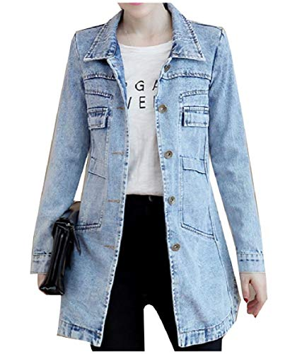 Down Trucker Collar Women Size Button Turn Light Howme Casual Blue Jacket Plus OgZRxxq