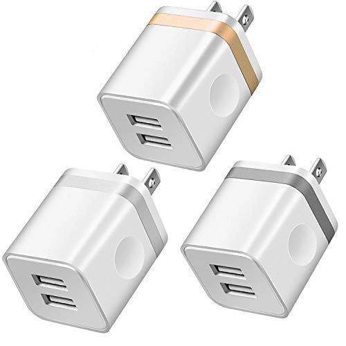 - LEEKOTECH USB Wall Charger, [UL Certified] 3-Pack 2.1A/5V Dual USB Plug Power Adapter Charger Block Charging Cube Compatible with Phone X/ 8/7/ 6S Plus, Xs Max XR, iPad, Samsung, Android, and More