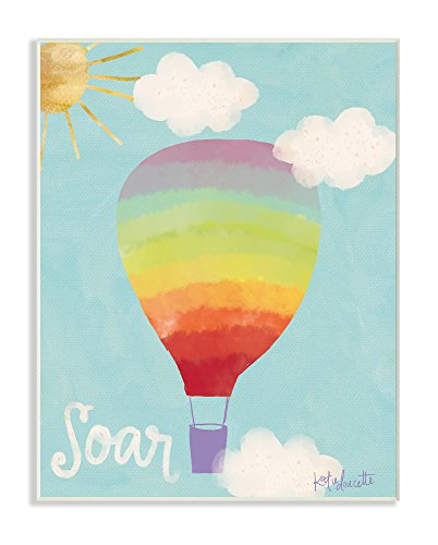 Stupell Industries Soar Rainbow Hot Air Balloon Wall Plaque Art, 10 x 0.5 x 15, Proudly Made in USA ()