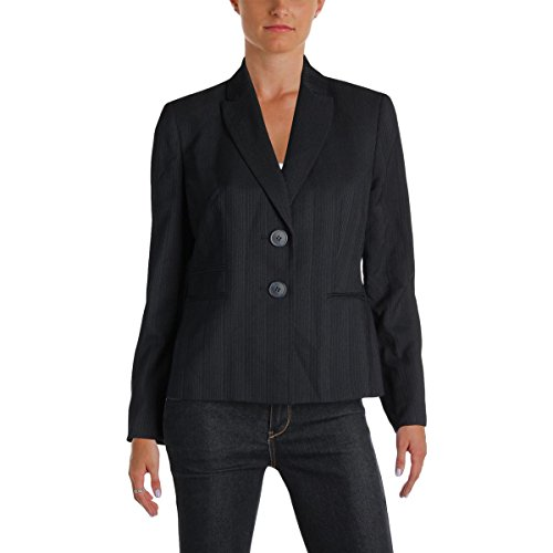 Blazer Pinstripe Lined (Le Suit Womens Petites Nantucket Pinstripe Two-Button Blazer Navy 4P)