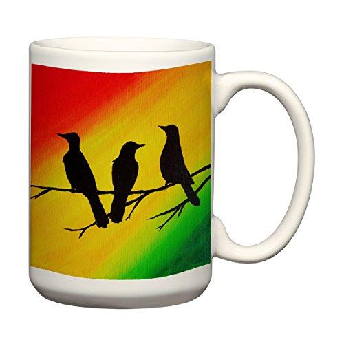 Three Little Birds Mug 15 oz Oversized Coffee Mug Coffee Mug Rasta Colors ()