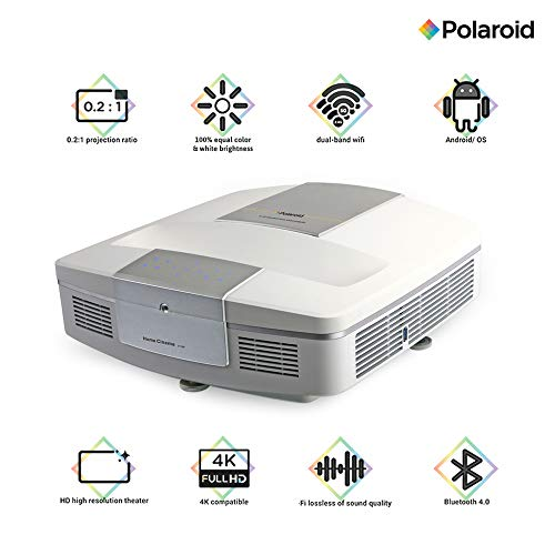 Polaroid Ultra Short Throw Projector U-100: 30,000-hour LED Light Source, Android OS - Home Theater Projector TV, Supports Gaming, Dual-Band WiFi, 4K Compatible with 0.2:1 Throw Ratio