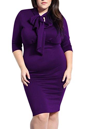 Dinner Knot (Pink Queen Womens Plus Size Dress 1/2 Sleeve Tie Knot Bodycon Clubwear Dresses L Purple)