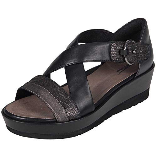 Earth Womens Hibiscus Black Multi Distressed Leather Sandal - ()