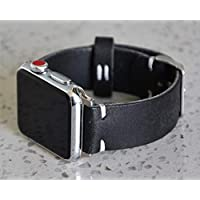Black iWatch 4 Band 38mm 40mm 42mm 44mm Custom Distressed Genuine Leather Mens Apple Watch Strap For Series 1 2 3