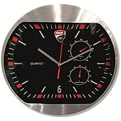 Ducati Corse Aluminum and Glass Wall Clock Black 987691020 Battery Operated