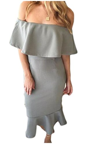 Flounce Sexy Neckline Art Deco Grey Dress Women Package Hip Boat Coolred xOUAqC