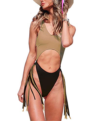 ALLureLove Swimsuits Bathing Suits Women Sexy Monokini Cut Out Bikini One Piece Cheeky Swimwear (Large, Khaki+Black)
