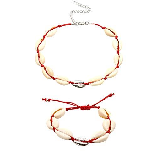 Bohemian Beach Shell Collana Bracelet Shell Stil Argento Rosso Acvip 7dPtw1qn7