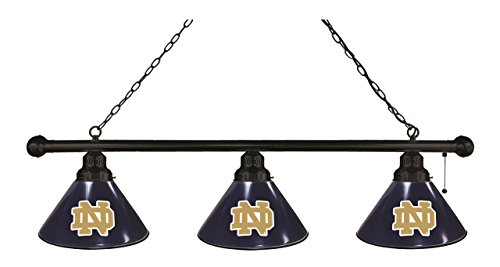 NCAA 3-Shade Pool Table Light by Holland Bar Stool - University of Notre Dame, Black - Bar Black Shade Pool Table
