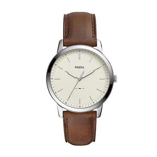 Fossil Men's The The Minimalist 3H Stainless Steel Analog-Quartz Watch with Leather Calfskin Strap, Brown, 22 (Model: FS5439)