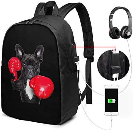 ビジネスリュック ボクシング フレンチブルドッグ 犬 メンズバックパック 手提げ リュック バックパックリュック 通勤 出張 大容量 イヤホンポート USB充電ポート付き 防水 PC収納 通勤 出張 旅行 通学 男女兼用