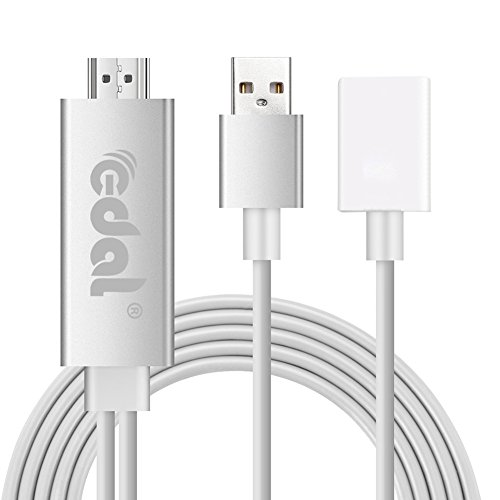 Edal 2017 The Latest 3rd Generation Lightning To HDMI Cable Digital AV Adapter for iPhone 7 7 Plus 6s 6s Plus 6 6 Plus 5 5c 5s SE, iPad Air/Mini/Pro, iPod Touch 5th/6th (Plug and Play)-White