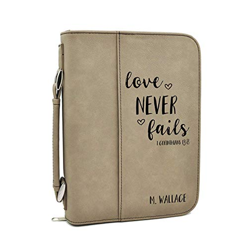 Custom Bible Cover | Love Never Fails |Personalized Bible Cover (Tan)