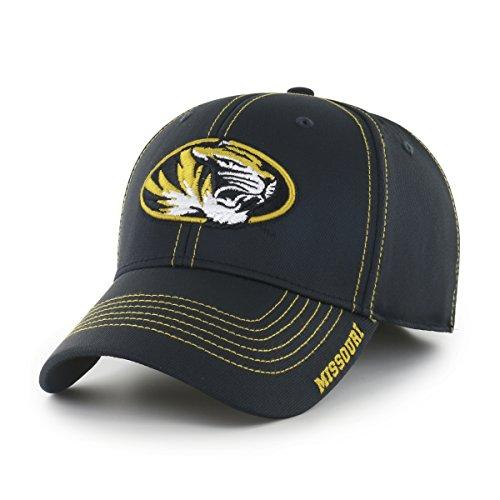 NCAA Missouri Tigers Adult Start Line Ots Center Stretch Fit Hat, Medium/Large, Black