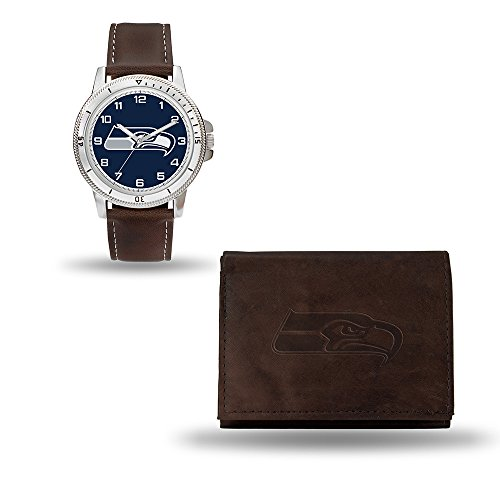 NFL Seattle Seahawks Men's Watch and Wallet Set, Brown, 7.5 x 4.25 x 2.75-Inch - Leather Nfl Watch
