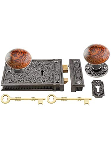 (House of Antique Hardware R-01HH-C1033-SBN-AI - Cast Iron Scroll Rim Lock Set with Brown Swirl Porcelain Knobs in Antique Iron)