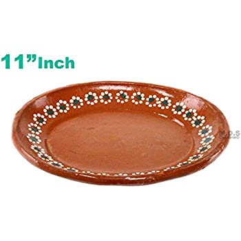 "Kitchen & Restaurant Supplies Plato De Barro 11"" inch para Mole Mexican Plate Traditional Clay Lead Free Artisan Artezania"