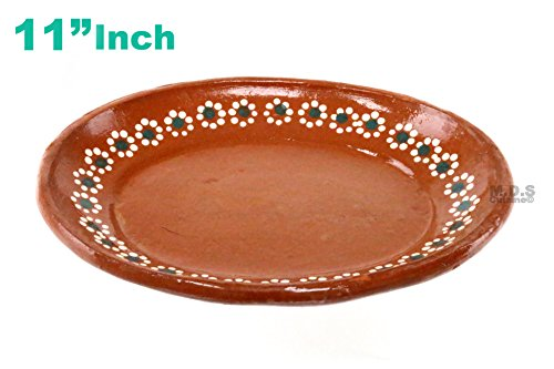 "Plato De Barro 11"" inch Para Mole Mexican Plate Traditional Clay Lead Free Artisan (Mexican Pottery Lead)"