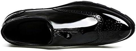 HUHU. Chaussures élégant Oxford Hommes, Slip-on de Style, Cuir PU, Zip Toe Avant Chaussures Oxford (Color : Black Patent Leather, Size : 39 EU)