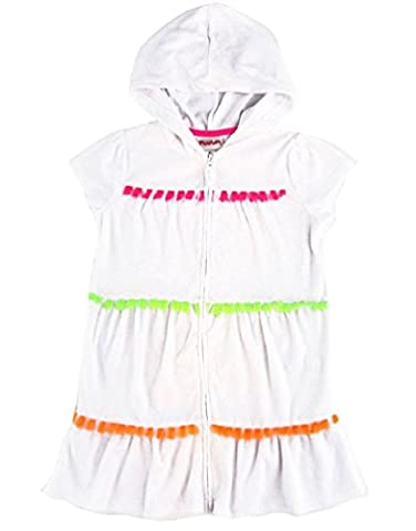 Flapdoodles Little Girls Hooded Terry Cover-Up, White (5) - White Terry Hooded Cover Up