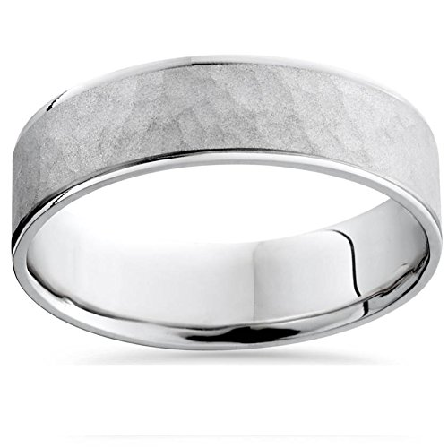 Mens White Gold Hammered Comfort Fit Wedding Band - Wedding Comfort Hammered Band Fit
