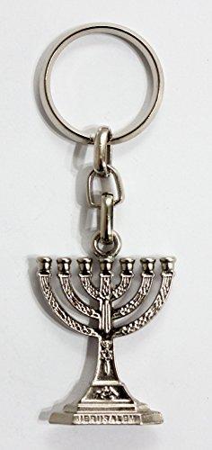 Menorah Estrella de David y el pescado Cristiano judío de clave Cadena clave Anillo