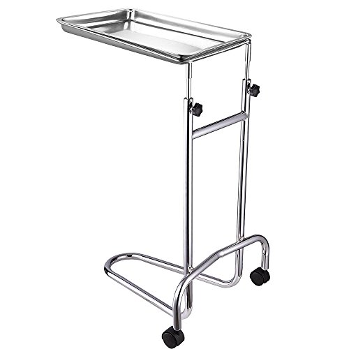 Mayo Instrument Stand With 2 Twin-Wheel Adjustable Height Removable Stainless Steel Tray For Spa Salon Equipment Surgical Procedures Medical Supplies Hospital Patient US Delivery