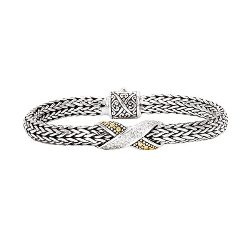Sterling silver and 18k gold Enchanta Collection diamond love-knot bracelet, 7.5 inches Etruscan Silver Bracelet