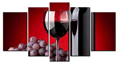 Metal Bottle Grapes Wine (SmartWallArt - Wine Paintings Wall Art a Cup of Wine and Wine Bottle with Some Grapes 5 Panels Picture Print on Canvas for Modern Home Decoration)