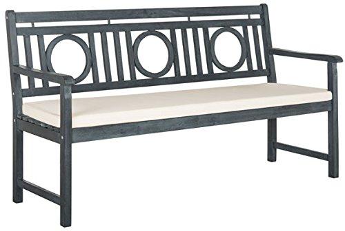 Safavieh PAT6736B Outdoor Collection Montclair 3 Seat Bench, Ash Grey/Beige For Sale