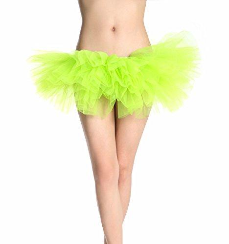 GOODTECK Classic 5 Layers Women Tutu Skirt(Lime (Lime Tutu)