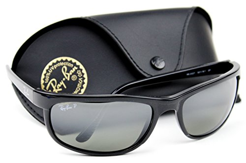 Ray-Ban RB2027 601/W1 PREDATOR 2 Sunglasses Black /Crystal Polarized Mirror Grey Lens. (Rb2027 Predator 2)