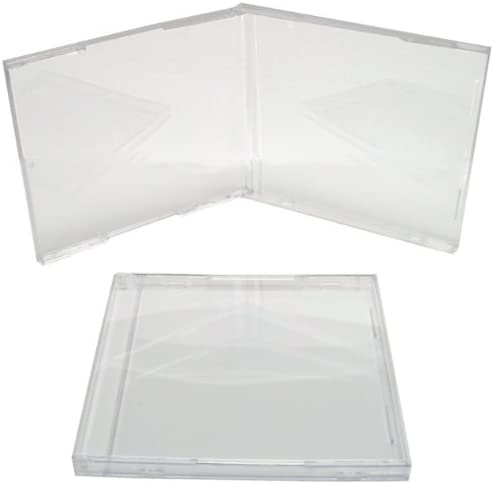 #CDBS10CLPR 50 Standard Premium Empty Clear Plastic Replacement CD Jewel Boxes 10.4mm Thick CD Cases Trays Sold Separately