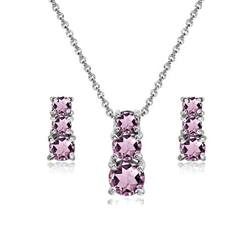 Sterling Silver Simulated Alexandrite Round Graduating Three Stone Stud Earrings & Necklace Set ()
