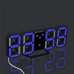 Digital LED Clock,Han Shi Fashion Modern Night Wall Table Desk USB Alarm Watch Clock (M, B)