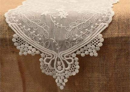 (Lace Table Runner in White - 12