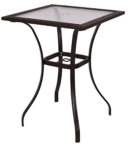 K&A Company Outdoor Dining Patio Square Table Glass Steel Vintage Chippendale Furniture Regency Great Condition Rattan Square Table by K&A Company