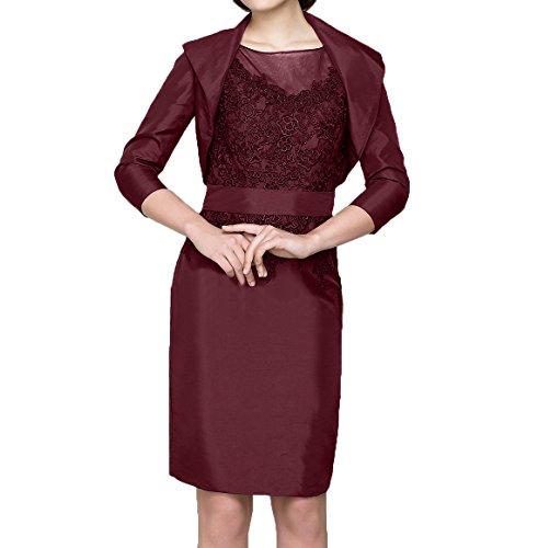 Burgundy Jaket Damen Etuikleider Ballkleider Charmant Kurzes mit Brautmutterkleider Partykleider Abendkleider Knielang Ow6vz