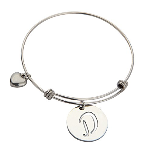 ZUOBAO Stainless Steel Initial Disc Expandable Wire Bracelet Bangle with Heart Charm (D) - Initial Heart Charm Letter