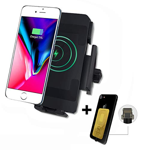 (Motorcycle Wireless Charging Phone Holder, 10W Motorcycle Cell Phone Holder For Samsung Galaxy S10/S10+/S10E/S9/S9+/S8/S8+, 5W For IPhone XR/Xs Max/XS/X/8/8 Plus And More(With Iphone Wireless Charging)