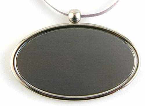 (Oval Engravable Pendant - Hanging plate medallion plaque for urns that can't be engraved - Engraving not included - Includes smooth satin ribbon - Made in Brass - SILVER - ENGRAVING NOT INCLUDED)