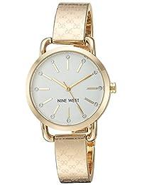 Nine West NW2102SVGB Reloj Análogo para Mujer, color Blanco/Oro
