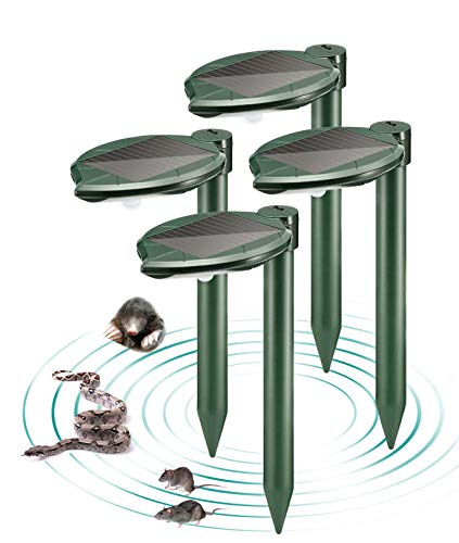 MAXFETCHED Solar Snake Repellent Outdoor with Mini LED Garden Lamp 4 Pack, Sonic Snake Repeller, Pest Control Ultrasonic Repellent for Garden, Yard, Lawn and Farm, Weather Proof