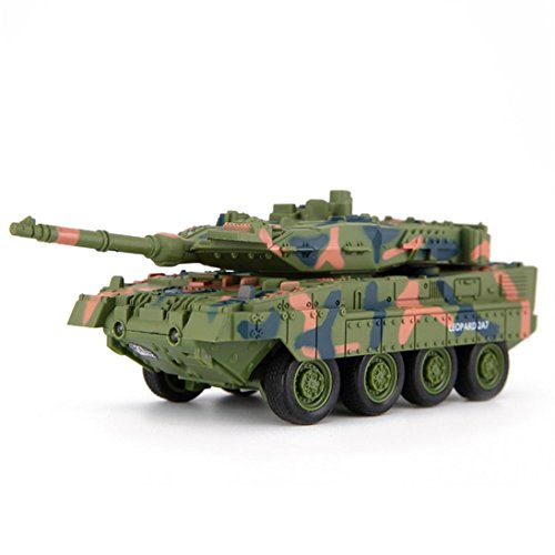 E-SCENERY 4CH Remote Control 2A7 Panther Tank, RC Tanks With Rotating Turret and Recoil Action, Rechargeable 50HMA lithium Battery (Green)