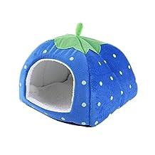 Gracefur Pet Cave Cute Strawberry Shape Dot Pet Nest Soft Removable Self Warming Pet Bed for Dogs & Cats Blue S