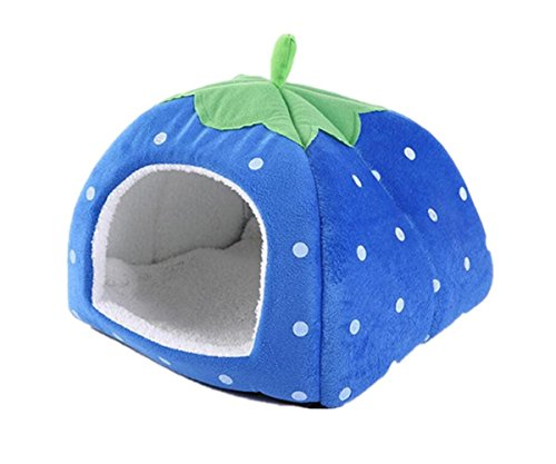 Gracefur Pet Cave Cute Strawberry Shape Dot Pet Nest Soft Removable Self Warming Pet Bed for Dogs & Cats Blue M by Gracefur