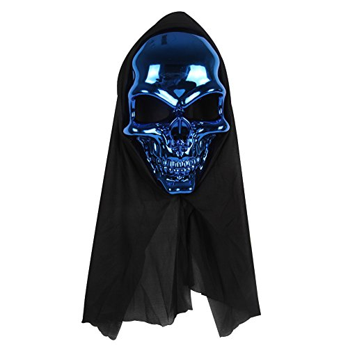 Masquerade Costumes Ltd (Halloween Skull Ghost Mask With Hair Costume Party Props Masks Scary Evil Creepy Face & Grin Blood Decorations)