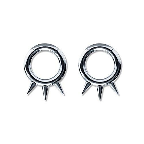 (Lex & Lu Pair of Steel Seamless Segment Rings w/Spikes 10 Thru 6 Gauge)